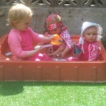 Busy in the paddling pool